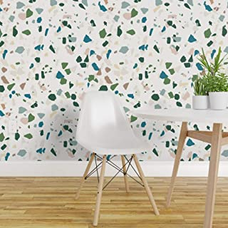 Spoonflower Peel and Stick Removable Wallpaper, Terrazzo Stone Gems Teal Green Cream Vintage Spot Dot Modern Pastel Print, Self-Adhesive Wallpaper 12in x 24in Test Swatch