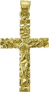 14kt Yellow Gold Mens Diamond-cut Nugget Cross Crucifix Ht:32.8mm Religious Pendant Charm
