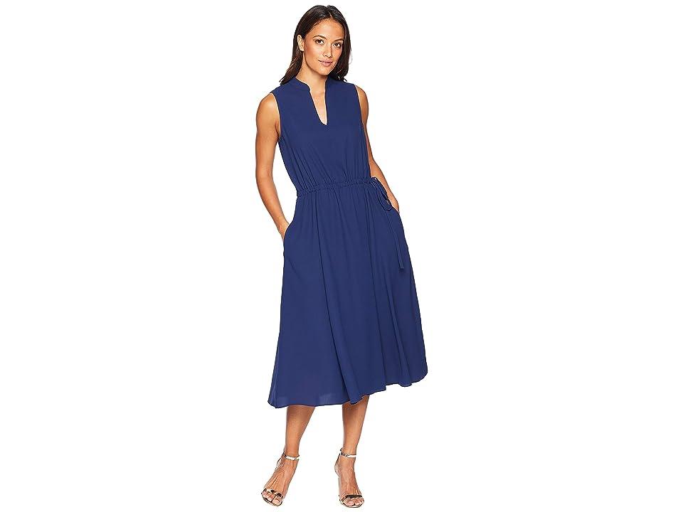 Anne Klein Solid CDC Split-Neck Drawstring Dress (Marine Blue) Women