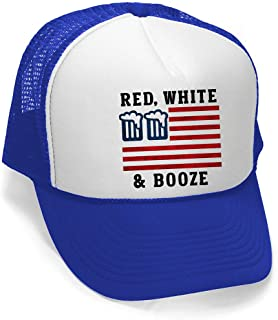 Men's Red White and Booze Hat PLY B921 Blue/White Trucker Hat