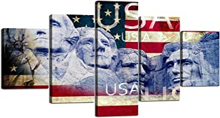 Yatsen Bridge USA Flag Painting United States Presidential Memorial and Statue of Liberty Canvas Prints Paintings Wall Art Decor for Home Bedroon Living Room - 60''W x 32''H