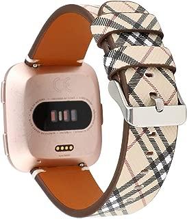 JimBird Bands for Fitbit Versa & Versa Lite, PU Leather Replacement Bracele Wrist Watch Band for Fitbit Versa Fitness Smart Watch