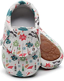 Bebila Cute Cartoon Printing Baby Moccasins - Vegan Baby Slippers with Non-Skid Rubber Sole for Boys Girls First Walker Infants Toddler Shoes