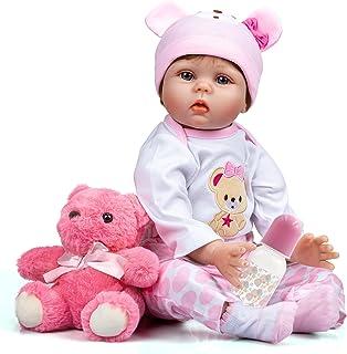 Asmork Lifelike Reborn Baby Dolls Girl, 22 Inch Weighted Realistic Newborn Baby Dolls, Soft Silicone Baby Doll with Pink B...