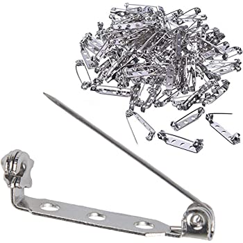 1.4 inch Name Tags and Jewelry Making 100 Pieces Bar Tone Pins Silver Metal Brooch Pin Backs Safety Clasp Brooch Pins Findings with 3 Holes for Making Corsage