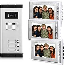 AMOCAM 3 Units Apartment Video Intercom System, Wired Video Door Phone Kit, 1 PCS Night..