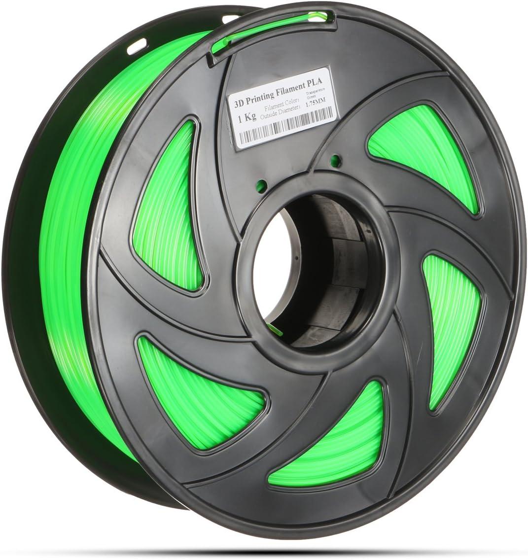 MASUNN 1.75Mm 1Kg Pla Transparant Rood/Blauw/Groen/Geel Filament Voor 3D Printer Reprap Groen