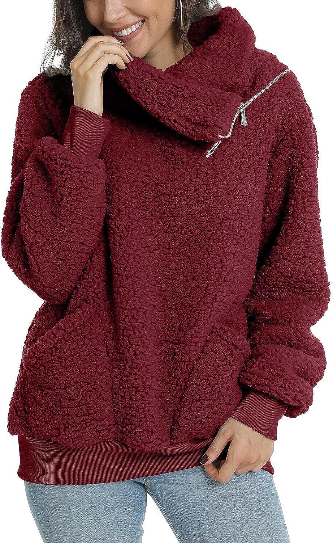 LONGYUAN Women's Casual Loose Cozy Fuzzy Sweatshirt Soft Warm Fluffy Comfortable Sweater Zipped Up with Pocket