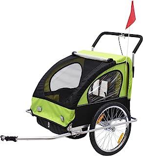 comprar comparacion HOMCOM Remolque para Niños DOS PLAZAS con Amortiguadores Carro para Bicicleta CON BARRA INCLUIDA y Kit de Footing COLOR VE...