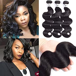 Igrina 8A Mink Brazilian Virgin Hair Body Wave 3 Bundles Deals Remy Human Hair Bundles Weave Body Wave Bundles Good Cheap Weave Wavy Human Hair Extensions 100g/piece Natural Color (10 12 14 inch)