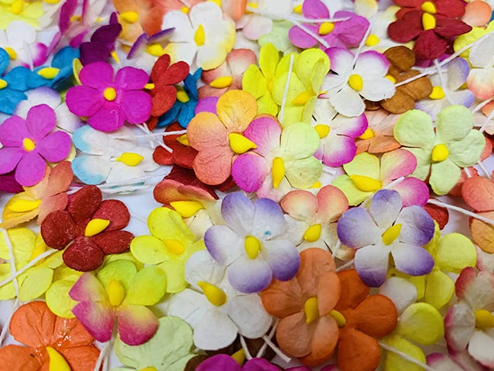 100 pc Mini Daisy Mulberry Paper Mixed Color Flower 10 mm Supplies Card Scrapbooking Embellishment DIY Wedding Doll House F032
