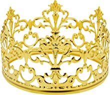 Inscape Data Crown Cake Topper, Vintage Tiara Crown Cake Topper Baby Shower Birthday Cake Decoration Small Baby Crown for Boys & Girls, Metal(Gold)