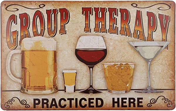 HANTAJANSS Group Therapy Vintage Metal Sign Retro Funny Tin Signs For Store Bar Home Decoration