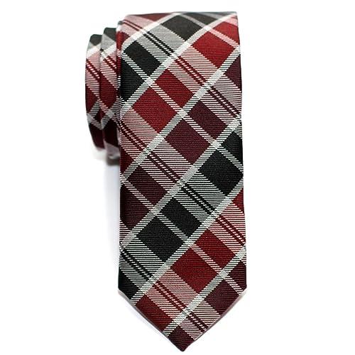 5856d444dc375 Retreez Modern Tartan Check Styles Woven Microfiber Skinny Tie - Various  Colors