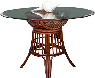 Alexander & Sheridan Bermuda Dining Table Base in Sienna Finish with Round Tempered Bevel Edge Glass, 48