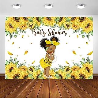 COMOPHOTO Sonnenblumen Hintergrund für Babyparty, für Mädchen, Babyparty, Dekoration, Hintergrund mit gelben Sonnenblumen, Vintage, Babyparty, Requisiten, Vinyl., 7' x 5'