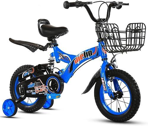 GLJJQMY Kinderfürr r 16-Zoll-fürr r 4-8 Jahre Kinderfürr r Kinderwagen aus Kohlenstoffstahl, blau Grün (Farbe   Blau)