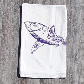 Flour Sack Kitchen Tea Towel Cotton Purple Shark