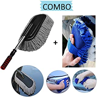TONY STARK® Car Cleaning Accessories Combo (2 PC) – 1 PC Microfiber Retractable Brush Duster + 1 PC Multipurpose Car Clean...