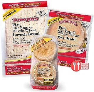 Combo Value Pack: Joseph's Flax Oat Bran & Whole Wheat Reduced Carb Low Carb Pita Bread, Lavash Bread, and Mini Pita