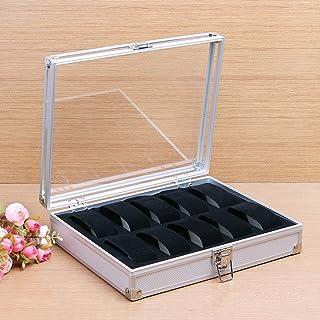 Lwieui Caja de Reloj 10 Ranuras de Aluminio de aleación de Relojes de Caja de exhibición de Almacenamiento con Tapa Transp...
