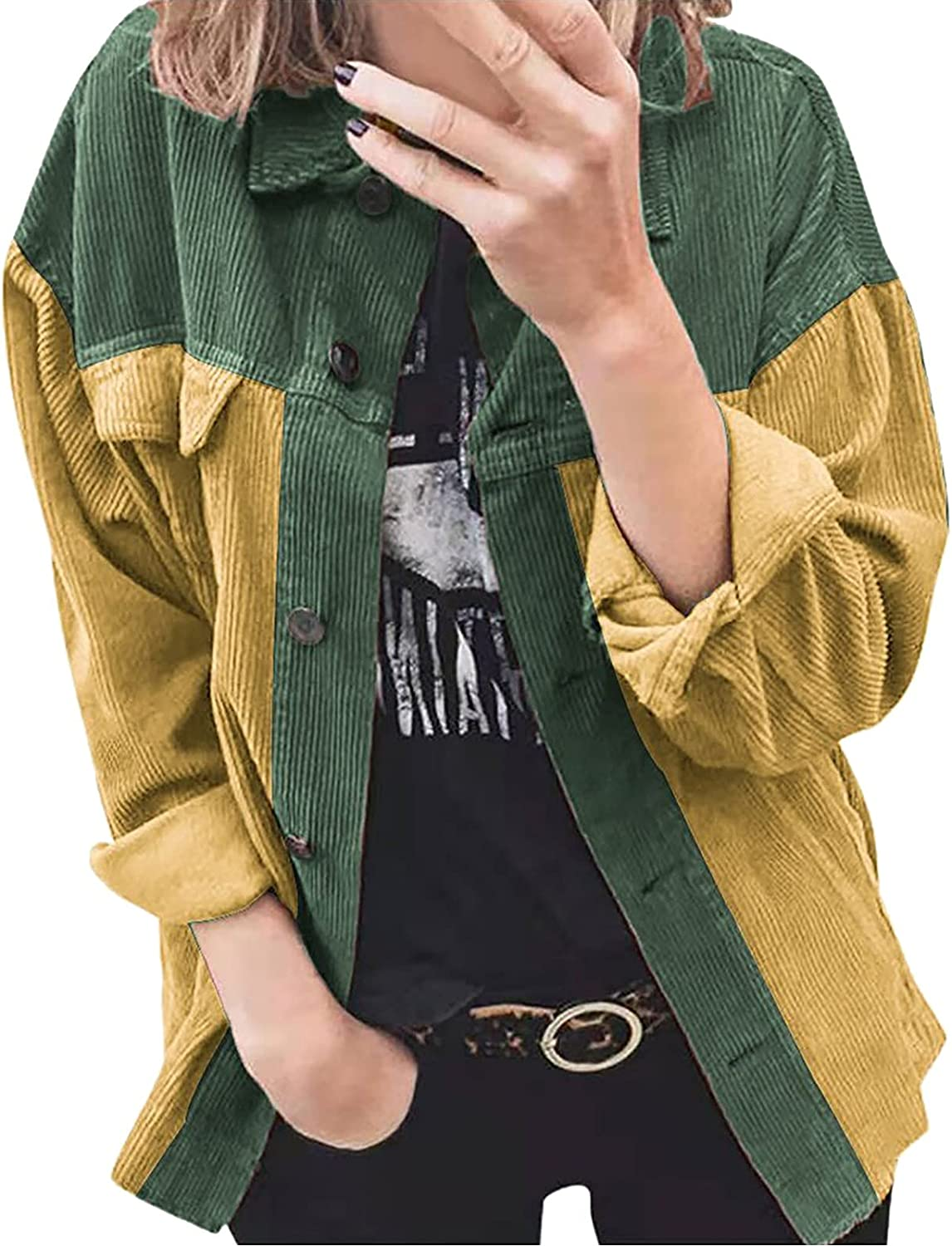MINEMIN Women's Corduroy Jacket Casual Long Sleeve Button Down Autumn and Winter Clothes Coat Jackets