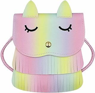 ZGMYC Cat Tassel Shoulder Bag Small Coin Purse Crossbody Satchel for Kids Girls, Rainbow (5.1'' x 5.9'')