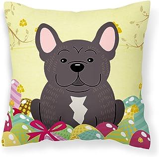 Caroline's Treasures BB6009PW1818 Easter Eggs French Bulldog Brindle Fabric Decorative Pillow, 18 x 18, Multicolor