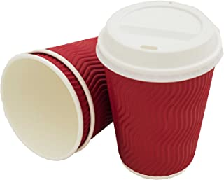 Premium Disposable Coffee Cups with Lids | Red 12 oz Cups (50 Count) | Amazing Heat Retention No Sleeve Needed | Eco Friendly To Go Paper Coffee Cups | Proven Robust Design Guaranteed Leak-Proof