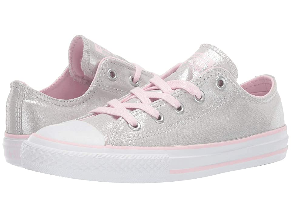 Converse Kids Chuck Taylor All Star Twilight Court Ox (Little Kid/Big Kid) (Mouse/Pink Foam/White) Girls Shoes