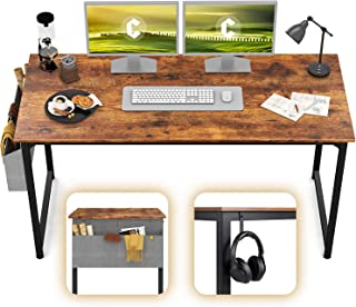 """CubiCubi Study Computer Desk 55"""" Home Office Writing Desk, Industrial Simple Style PC Table, Black Metal Frame, Rustic"""