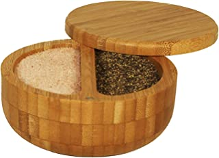 Relative Foods 2 Compartment Bamboo Duet with Himalayan Pink Salt and Pepper