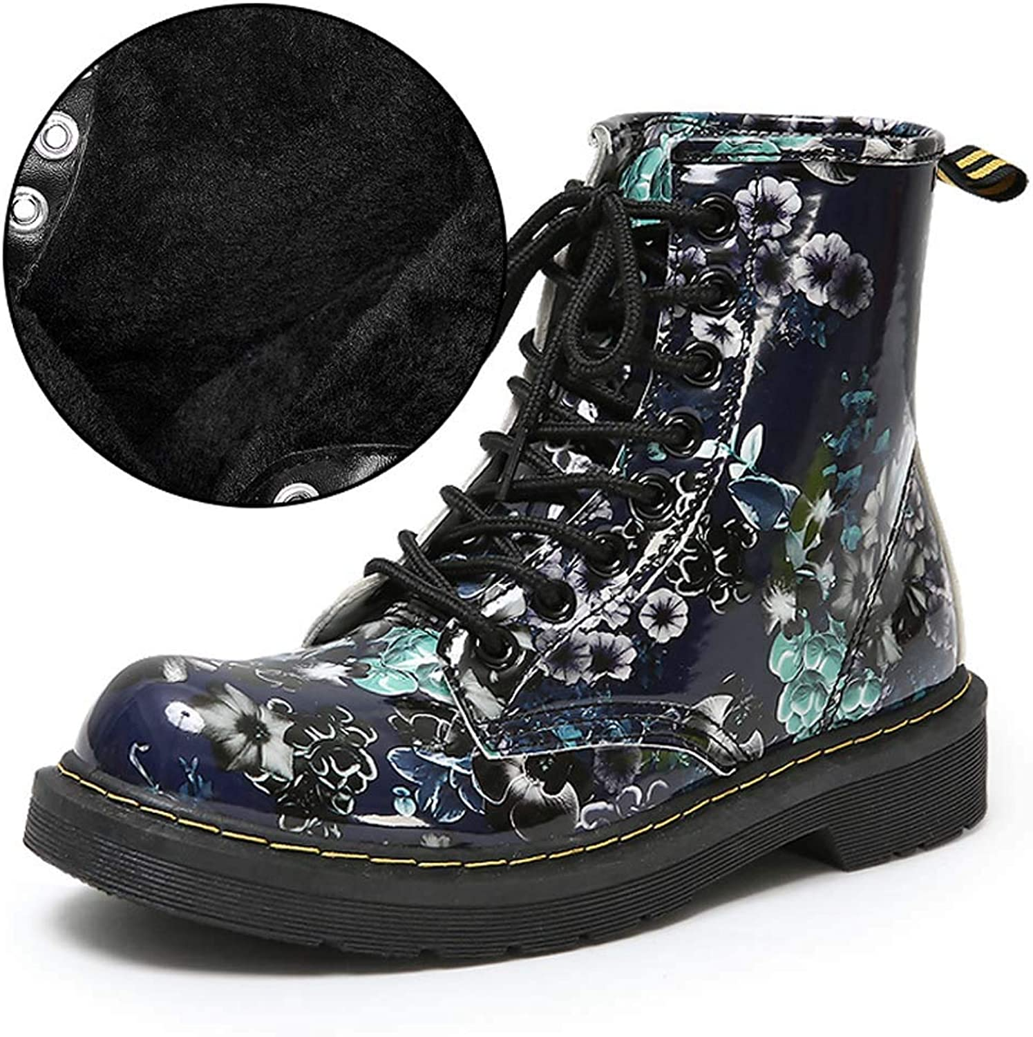Womens Martin Boots Winter Fur Lined Casual Lace Up Warm Ankle Boots,Crystal bluee