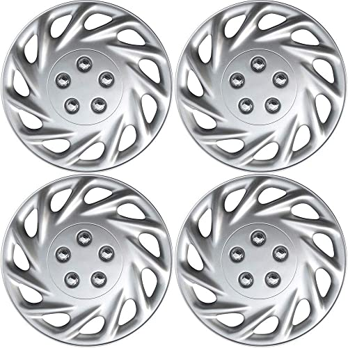 lowest 13 inch Hubcaps Best for - Ford Explorer - (Set of 4) Wheel online Covers 13in Hub Caps Silver Rim Cover - Car Accessories for 13 inch lowest Wheels - Snap On Hubcap, Auto Tire Replacement Exterior Cap online sale