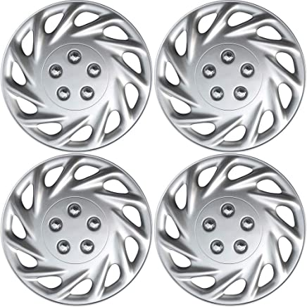 OxGord Hubcaps for 13 Inch Wheels (Pack of 4) Wheel Covers - Silver
