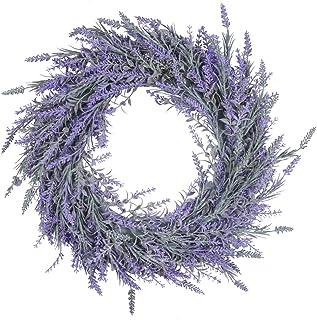 "Pauwer 18"" Lavender Wreath for Front Door Artificial Lavender Wreath for All Seasons Indoor Outdoor Floral Wreath for Wedd..."