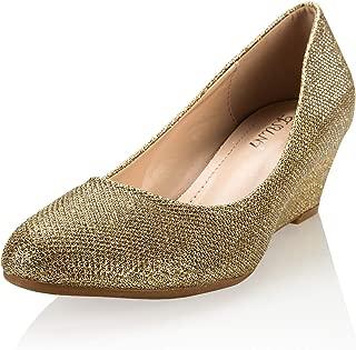 JSUN7 Women's Fashion Low Wedge Dress Sandal Shoe