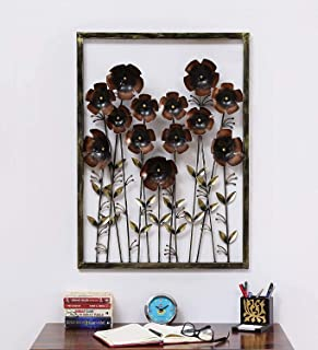 Home and Bazaar Rajasthani Ethnic Handcrafted Metal Daisy Panel Ton with Flowers Wall Art Size 24x3x36 Inch Powder Coated