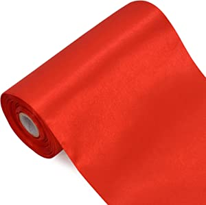 TONIFUL 6 inch x 22yd Wide Red Satin Ribbon Solid Fabric Large Ribbon for Grand Opening Cutting Ceremony Wedding Birthday Party Decoration Gift Craft Chair Sash Table Car Bows Indoor or Outdoor