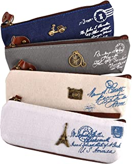 eZAKKA Vintage Canvas Pen Pencil Case Coin Purse Pouch Cosmetic Makeup Bag,4-Pack