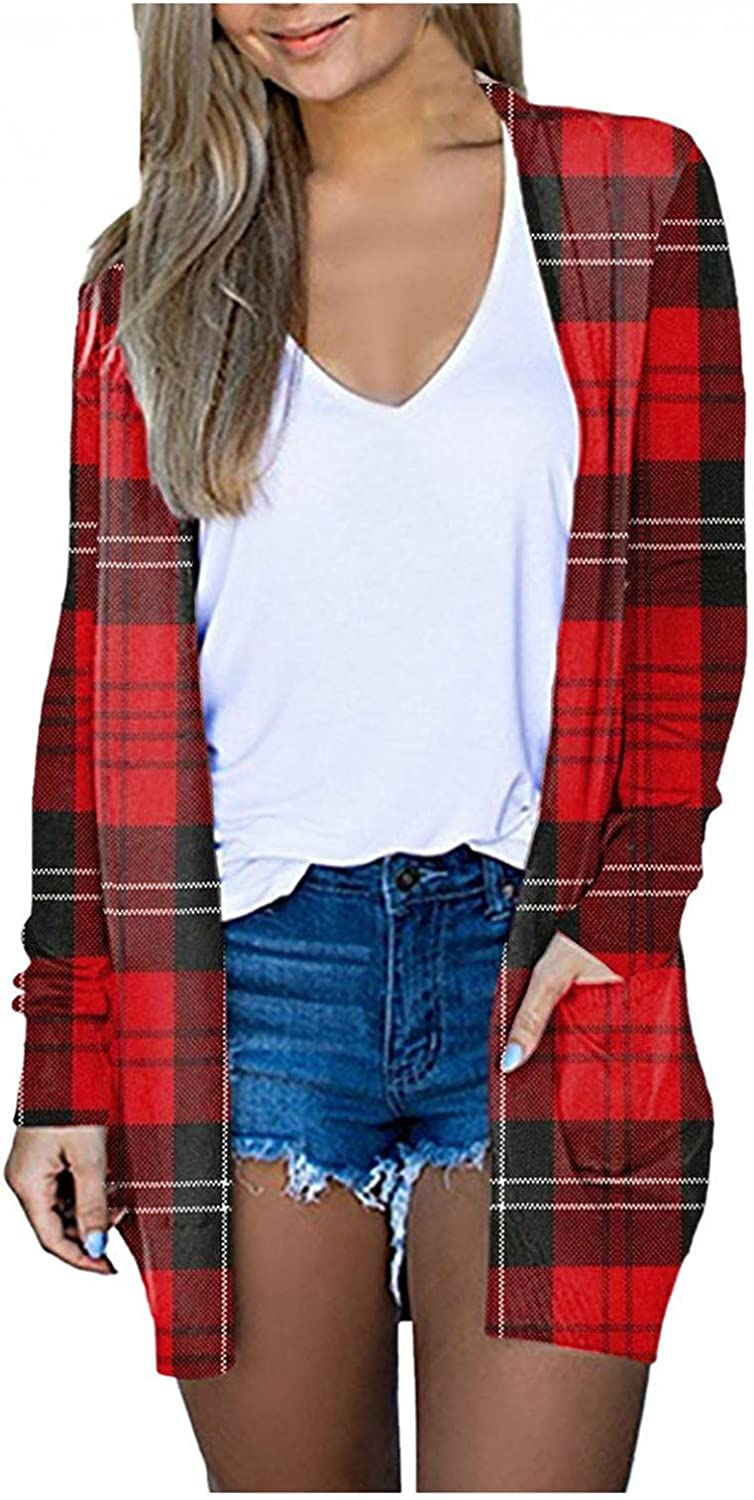 Eduavar Cardigan for Women Fashion Open Front Cardigan Shirt with Pockets Fall Casual Loose Long Sleeve Lightweight Coat