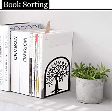 Cookbook Bookends, Tree Bird Metal Decorative Book Ends Support for Shelves, Non Skid Heavy Duty Modern Functional Kitchen Bo
