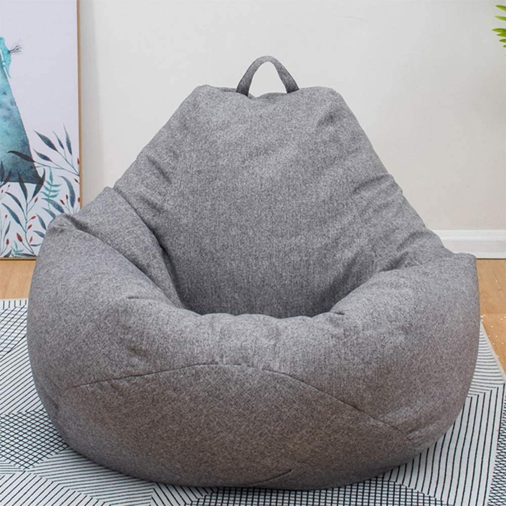 GFULLOV Bean Bag Chair Sofa Cover-Cotton Linen Lazy Lounger Stuffed Bean Bag Storage Chair Cover Without Filler Nordic Style for Adults Kids Indoor Outdoor