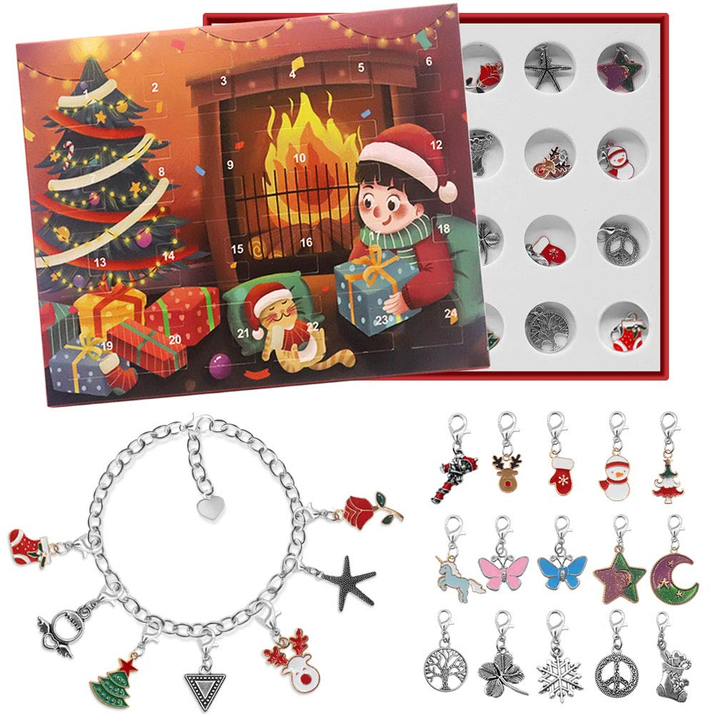 Amazon Com Advent Calendar 2020 Christmas Countdown Calendar Christmas Themed Diy Charm Bracelet Making Kit For Girls Jewelry Gift Set Including 22 Charms Beads 1 Bracelet 1 Necklace Red Home Kitchen