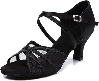 "CLEECLI Women's Ballroom Dance Shoes Latin Salsa Practice Dancing Shoes 2.5"" 3"" Heel ZB04"