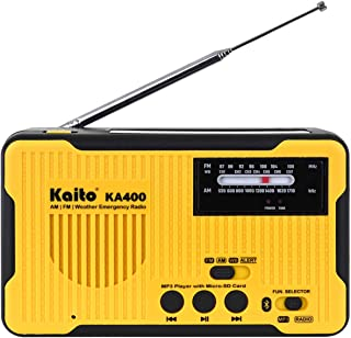 Kaito Voyager Scout Emergency Radio KA400 AM/FM NOAA Weather Alert 5-Way Powered Solar Crank Radio Receiver with Bluetooth, MP3 Player, LED Flashlight and USB Mobile Phone Charger