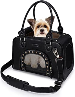 PetsHome Dog Carrier Purse, Pet Carrier, Cat Carrier, Foldable Waterproof Premium Leather Pet Travel Bag Carrier with Shoulder Strap for Cat and Small Dog Home & Outdoor