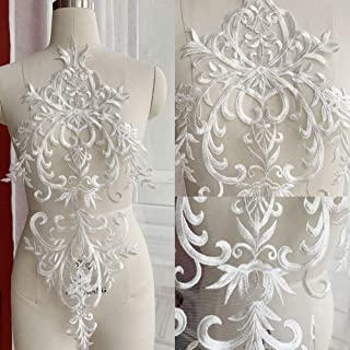 132-41 2 pieces Ivory Flower Lace Appliques,cotton Patches For Wedding Supplies,Bridal Hair Flower,Headpiece
