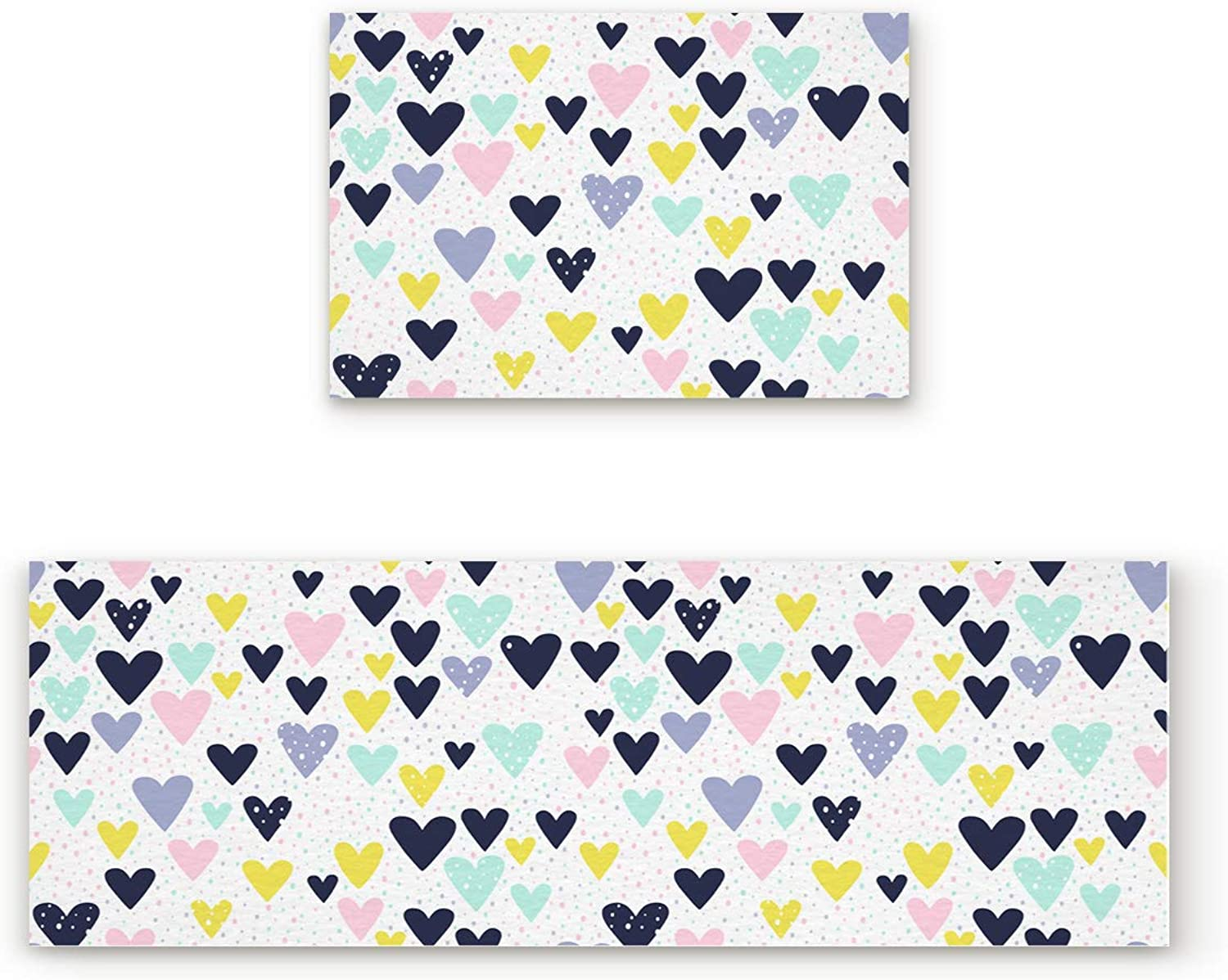 Libaoge Non-Skid Slip Rubber Backing Kitchen Mat Runner Area Rug Doormat Set, Hand Drawn color Hearts and Dots Print Carpet Indoor Floor Mats Door 2 Packs, 19.7 x31.5 +19.7 x47.2