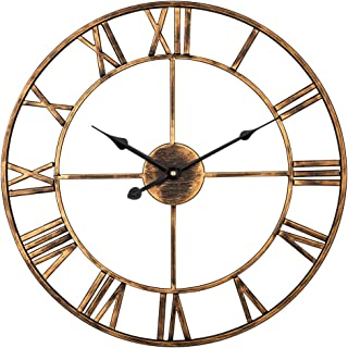 Decor Wall Clock, European Vintage Clock with Large Roman Numerals, Indoor Silent Battery Operated Metal Clock for Home, Loft, Living Room, Bedroom, Cafe - 18 Inch, Brushed Gold
